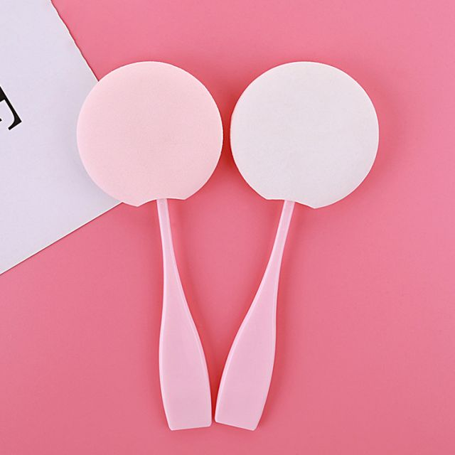Professional Private Label latex free pink face makeup cream round sponge cosmetic makeup powder puffs with handle