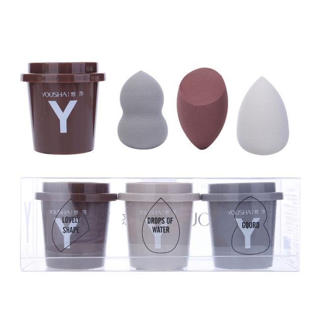 Yousha 3 In 1 Soft Different Shape Wet And Dry Dual Use Powder Puff Makeup Sponge Blender Set With Cap Case Storage Box Yf207