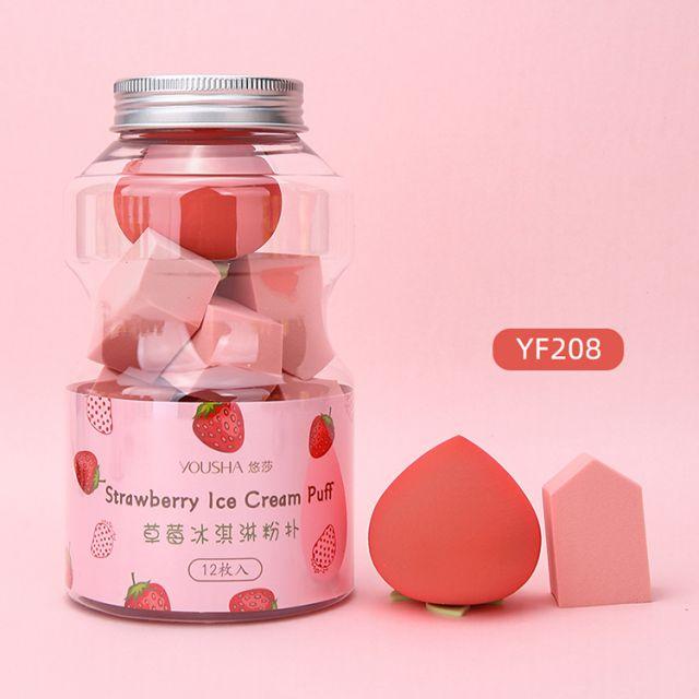 Yousha Beauty Tools Sponge Customized Logo 12pcs Fruit Shape Super Soft Latex Free Polyurethane Microfibre Makeup Sponge Yf208