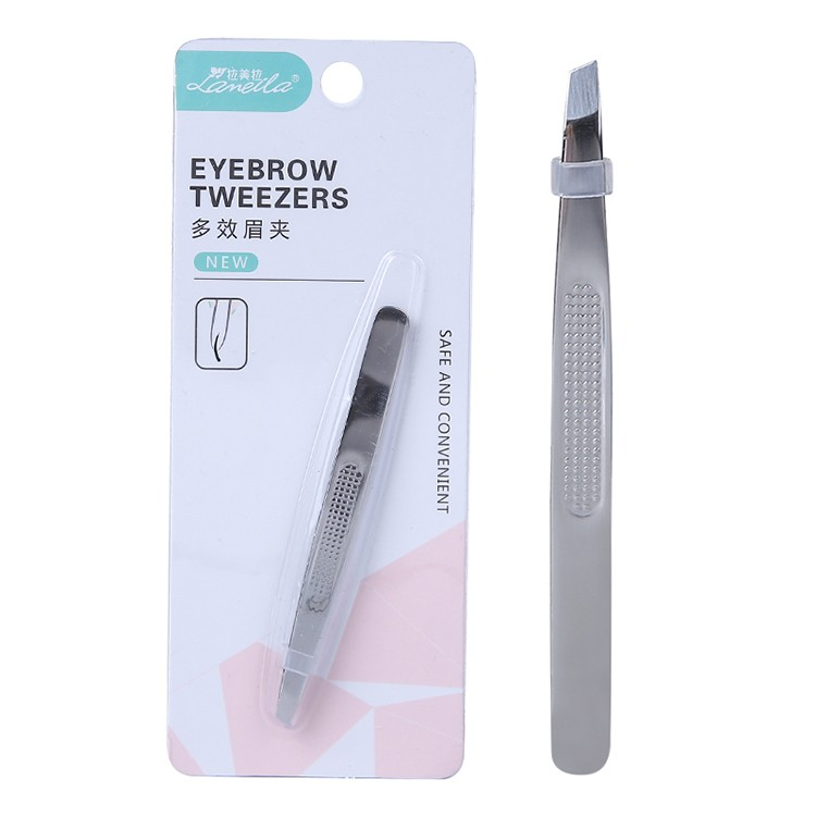 Lameila professional eyebrow extension tweezers private label stainless Non-slip handle steel eyebrow clip A0169