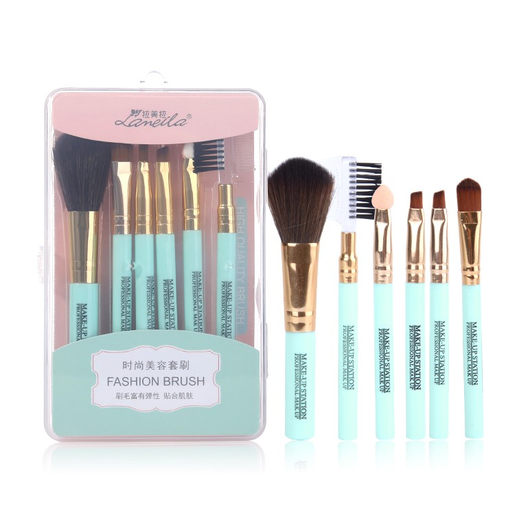 Custom logo 6pcs/set make up cosmetic tools facial foundation makeup brushes set with plastic box