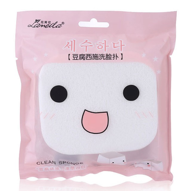 Lameila Newest style Oval shape Soft PVA White Face Cleaning Sponge B0028