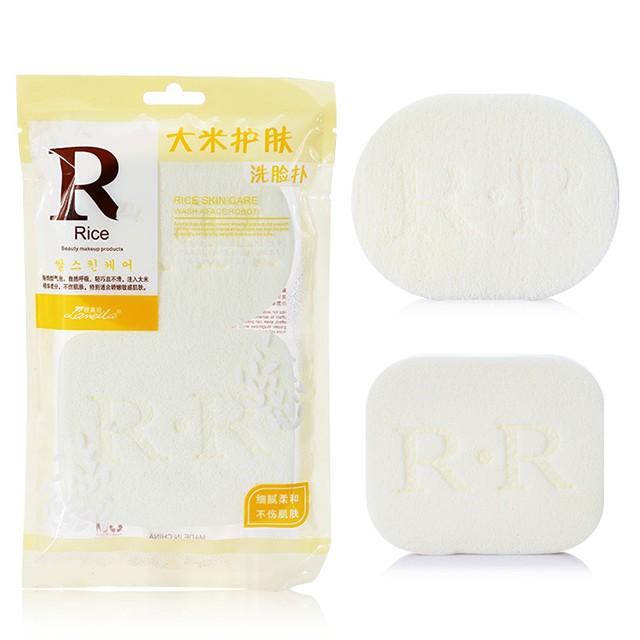Lameila 2pcs Face Care Clean Sponge Rice White Mixed Shape Face Cleansing Sponge SY-B2035