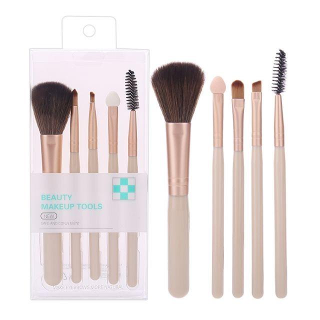 Silubi Cosmetic Brushes Vegan Cruelty Free 5pcs Custom Logo Blush Eyeshadow Lip Brow Brush Foundation Makeup Brush Set SLB-H002