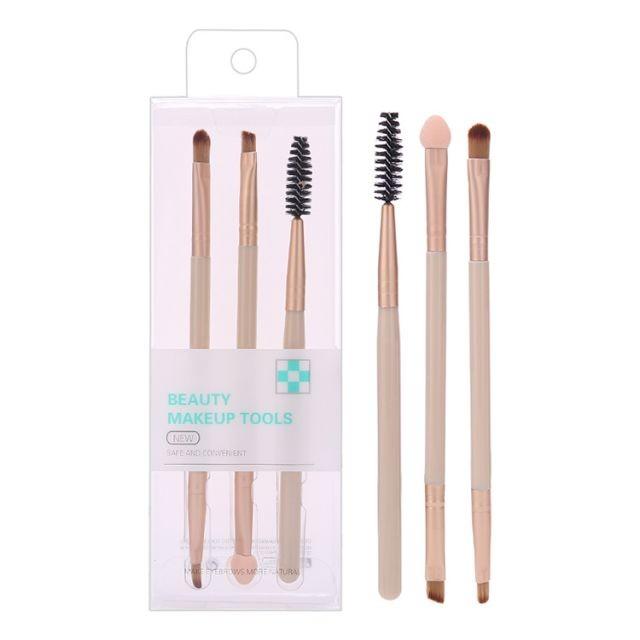 Silubi 3pcs double-ended brush sponge cosmetic luxury travel eyeshadow eyebrow brush eye makeup brush set SLB-H001