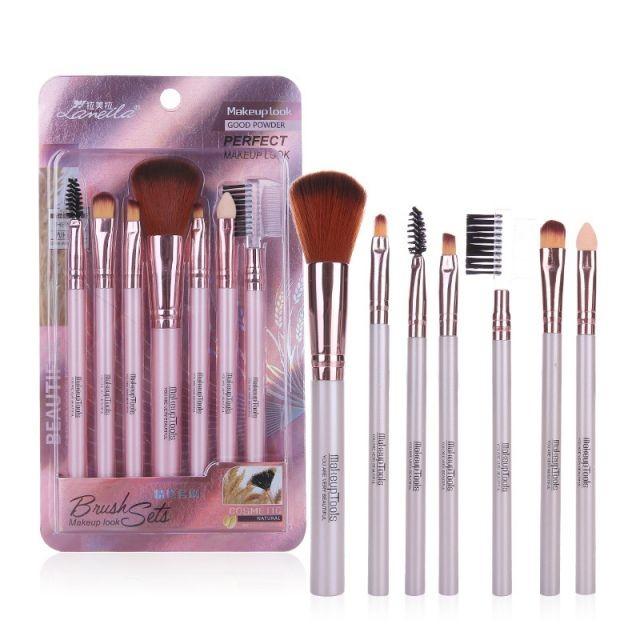 Lameila Eye Shadow Eyebrow Brush Multiple Function Combo Brush Set 7pcs Colorful Unique Soft Makeup Brushes L0960