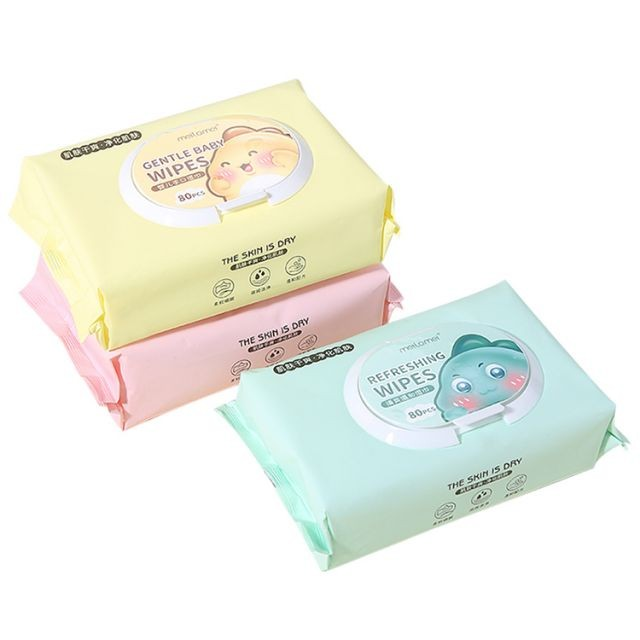Meilamei Face cleaning 80pcs facial wet wipes makeup remover pad cosmetic cotton wet tissue cotton pads MLM-SJ014