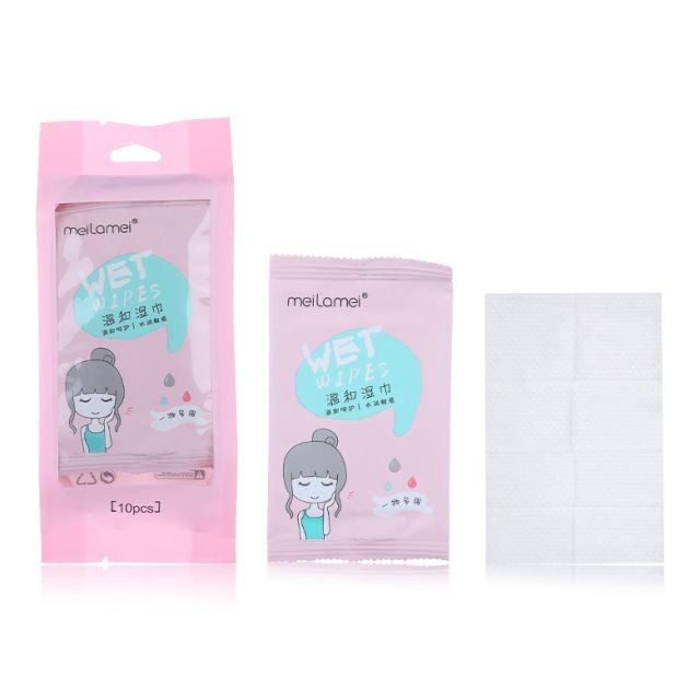 Meilamei Fast delivery 10pcs disinfectant wipes disposable makeup remover wet wipe private label face cleaning wipes E2119