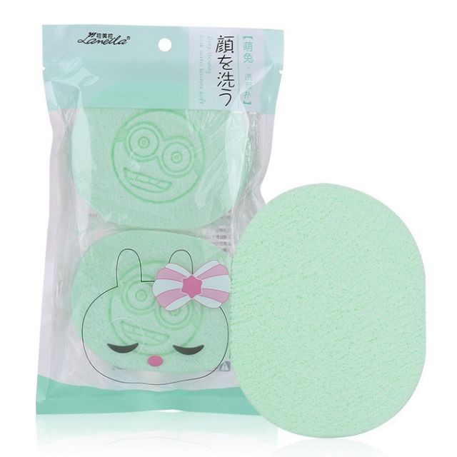 Lameila smile carton printing face care cleaning puff 2 pcs green hight quality face cleaning sponge B2195
