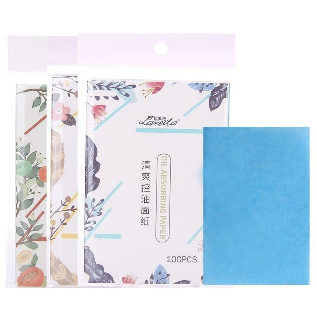 Lameila 100pcs cosmetic perfumed oil absorbing sheet colorful facial clean flax oil blotting paper A585