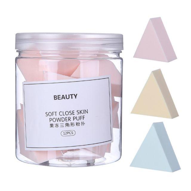 Lameila 12 pcs high quality latex free triangular shape makeup sponge puff reusable cosmetic makeup puff A80110