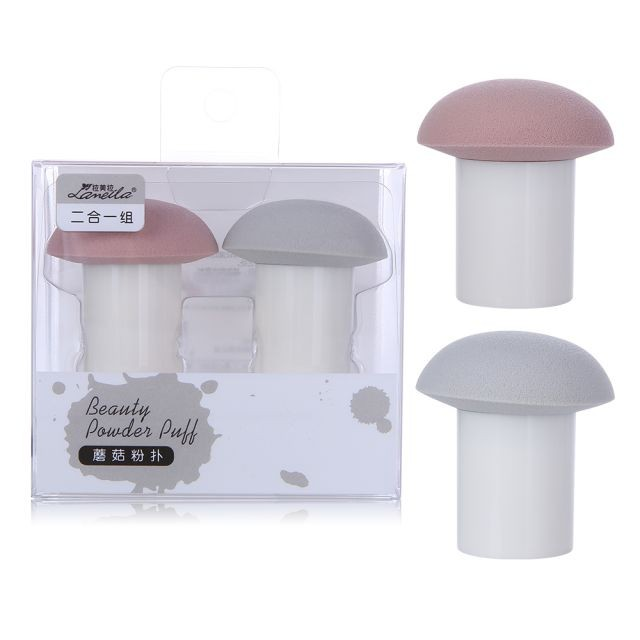 Mushroom-shaped Foundation 2pcs Powder Puff Packaging Cosmetic Makeup Pink Sponge Blender Egg Set A80103