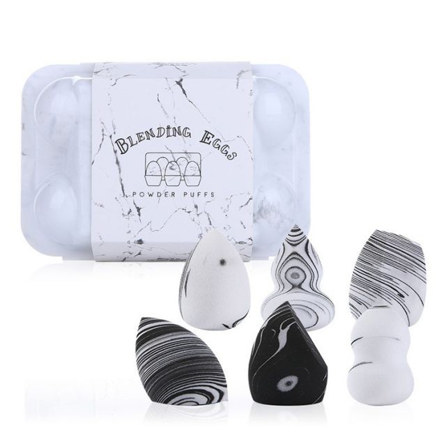 Lameila 6 PCS Latex Free Super Soft Different Shape Marble Pattern Cosmetic Makeup Sponge A80002