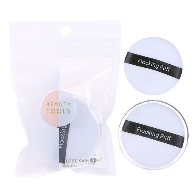 Soft velvet loose powder puff velour cotton flocking cosmetic puff with clear package A797