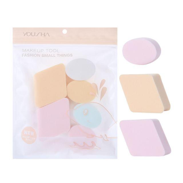 Foundation blender 6 pcs make up sponge puff set cosmetic skin colour dry wet microfiber makeup sponge powder puff YF103