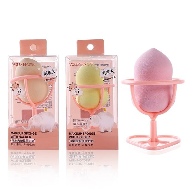 Yousha make up sponge blender pvc box wholesale foundation dry wet big soft makeup sponge with holder YF125