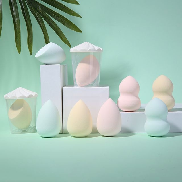 Yousha 3pcs with box Custom Logo Packaging Beauty Cosmetic Pink Latex Free Microfiber Blender Foundation Makeup Sponge YF199