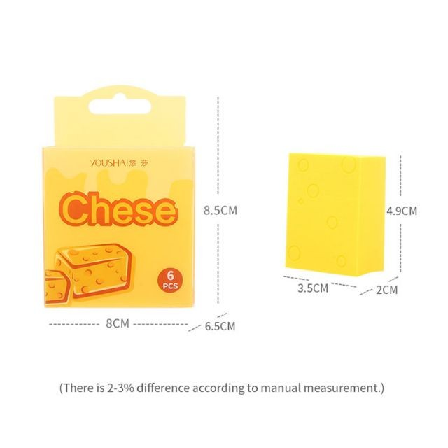 Yousha 2021 new arrived 6pcs super soft cosmetic foundation cheese yellow makeup puff YF215