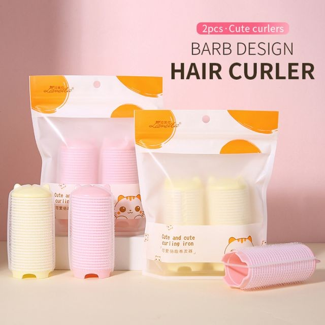 Lameila new arrival hair rollers manual 2pcs pink yellow cheap easy plastic hair curler C268