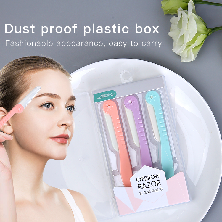 Lameila Foldable 3pcs Kit Stainless Steel Facial Hair Trimmer Shaper Portable Shaver Razors Eyebrow Razor Set For Women A0369
