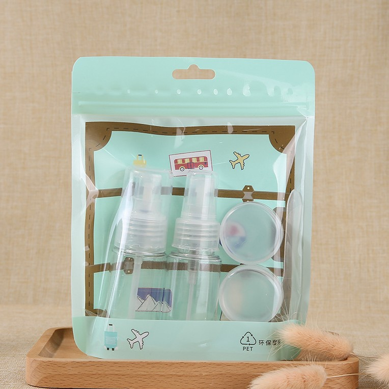 Portable packaging pet travel spray empty bottle plastic cosmetics bottles and jars set LM256