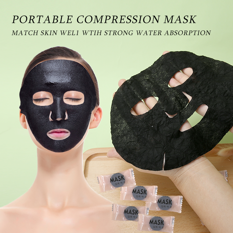 Wholesale beauty face mask sheet black color Bamboo charcoal diy compressed facial mask YM007