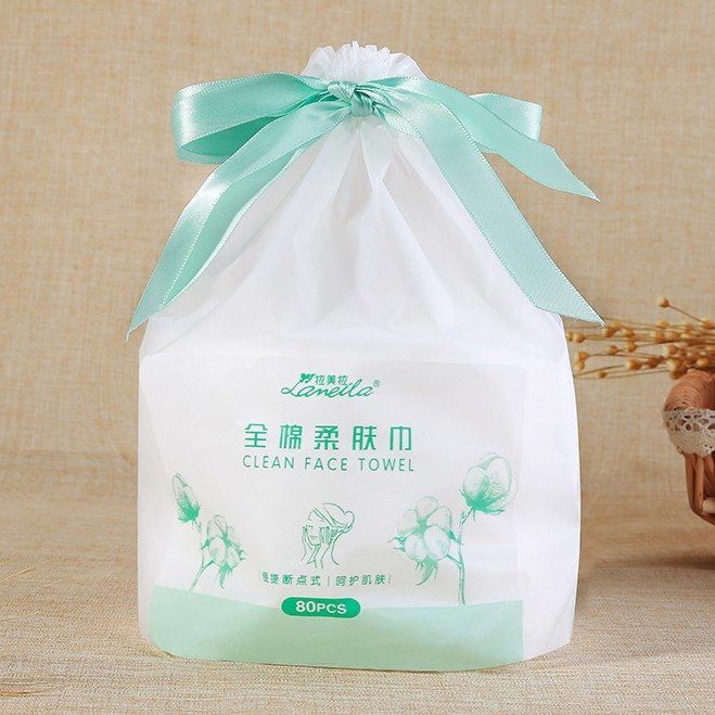 80 draws dry wet facial wash towels thick Biodegradable cleansing cotton soft Disposable face towel B325