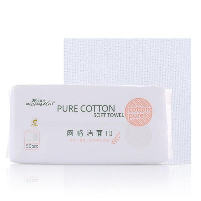 Lameila factory oem clean face towel 50pcs custom packaging size non-woven mesh cotton salon disposable facial towel B248