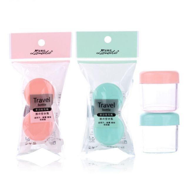 Lameila 20g*2 Travel Size Empty Bottle Ps Plastic Cosmetic Face Cream Jars Bottle Containers With 2pcs And Mini Stapula LA1028