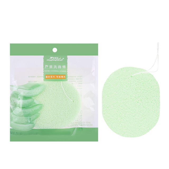 Lameila aloe vera face exfoliator remover clean sponge washable face cleansing sponge with rope B2146