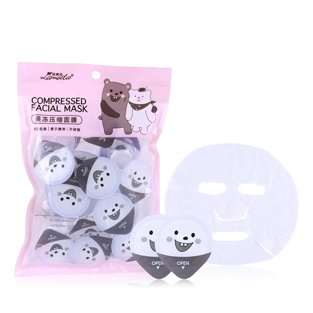 Lameila Hot Selling 20pcs/Box Compressed Facial Mask Sheet Paper Skin Care Cotton Nonwoven With Individual Package Travel D0877