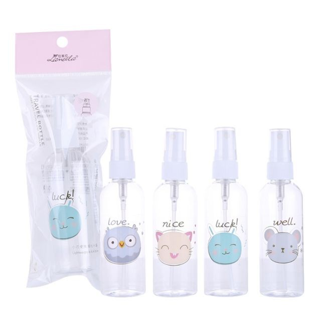 Lameila 100ml PET Spray Bottle Mini Cute Cartoon Pattern Empty Rosewater Container Cosmetic Tool Travel Perfume Bottles LM728