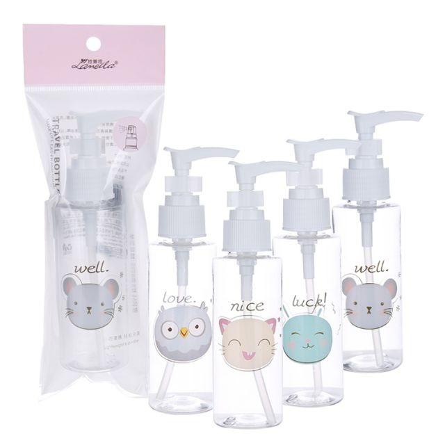 Lameila 100ml Empty Pump Bottle Cute Cosmetic Shampoo Hand Sanitizer Pump Bottle Face Cleanser Pocket Travel Bottle LM732
