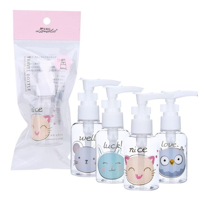 Lameila 50ml Airless Cute Pump Bottle PET Round Shape Body Lotion Shower Shampoo Refillable Travel Empty Bottles LM734