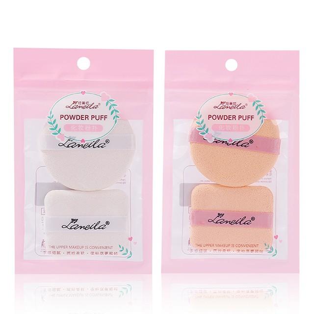 Lameila Powder puff Square Round Beauty Foundation Blending 2 pcs Sponge Custom Packaging Logo Makeup Sponge Blender B0201