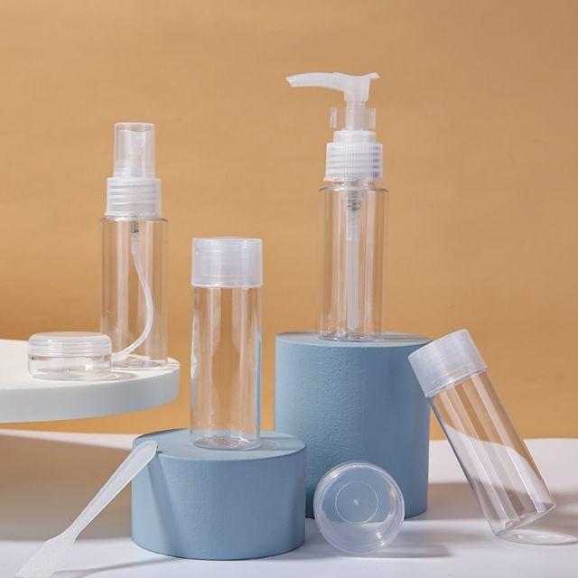 Lameila 50ml 7 Pcs Transparente Cosmetic Bottles Set PETConcentric Round Bottle Clean Travel Plastic Empty Bottle Set LM266